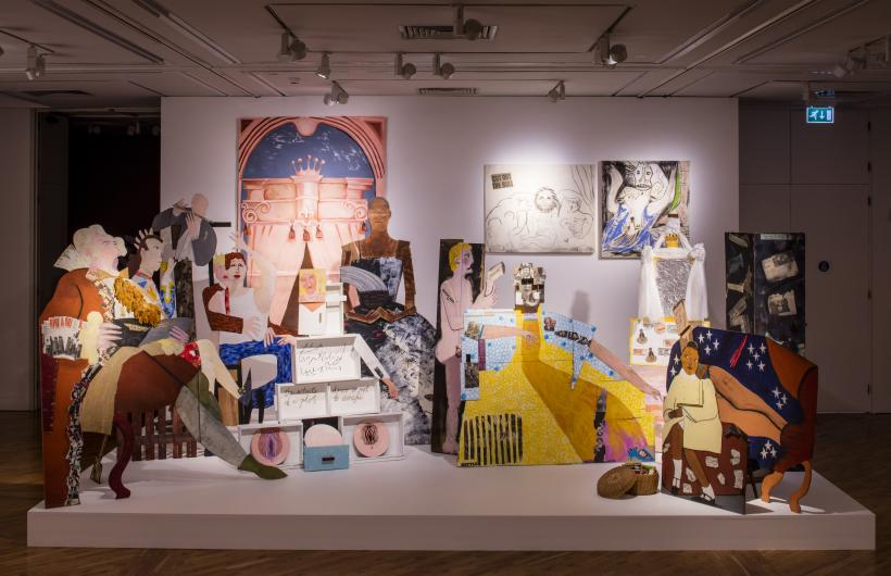 A Fashionable Marriage, 1987 Wood cut outs (various types of wood), Acrylic paint, Newspaper, Rubber gloves, Glue, Plastic (dinner plates), Paper, Tissue, Foil, Wicker basket, Selection of books, Cardboard, Canvas, Charcoal Loaned from Hollybush Gard