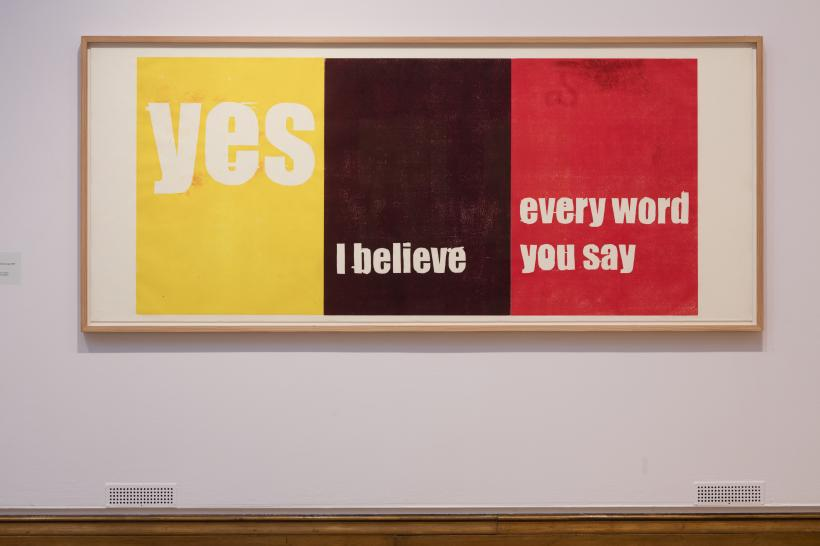 Andrea Büttner Yes, I believe, every word you say, 2007 Woodcut, Unique Loaned from Collection Ruedi Bechtler