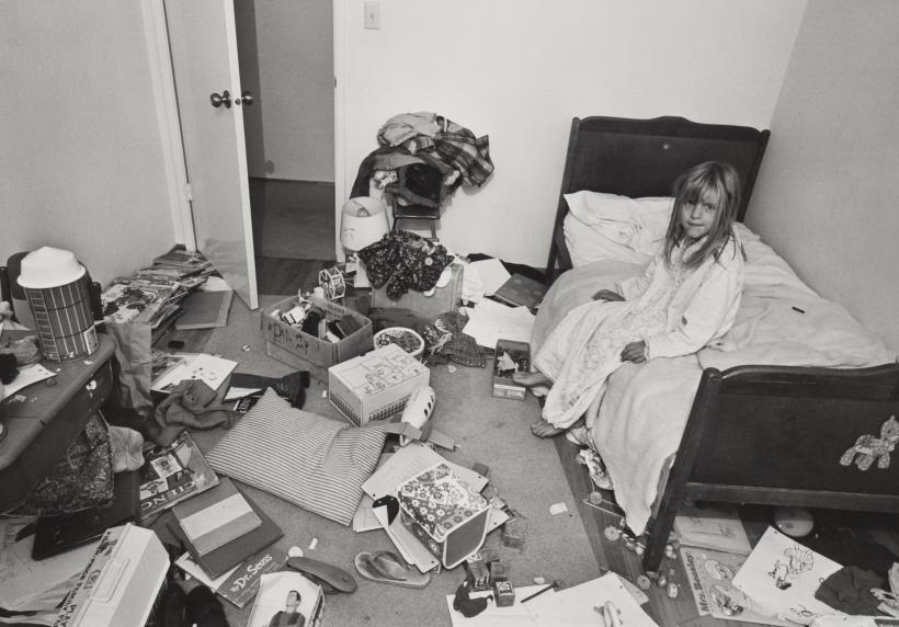 Bill Owens, I wanted Christina to learn some responsibility for cleaning her room, but it didn't work, c 1973, gelatin-silver print.