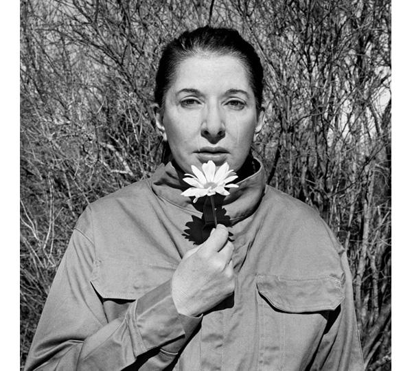 Marina Abramovic. PORTRAIT WITH FLOWER Open Eyes.2009. Image courtesy Marina Abramovic and Lisson Gallery