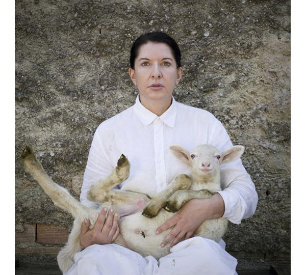 Marina Abramovic. Portrait with white lamb. 2010. Courtesy the artist, Marco Anelli  and  Lisson Gallery