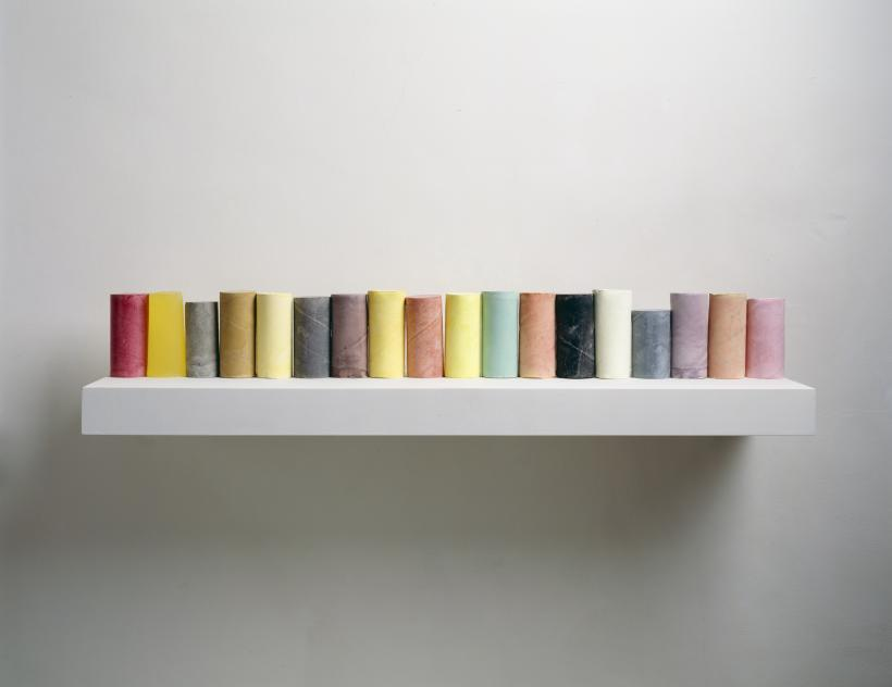 Line Up, 2007-8, Plaster, pigment, resin, wood and metal (eighteen units, one shelf), 285 x 400 x 250 mm