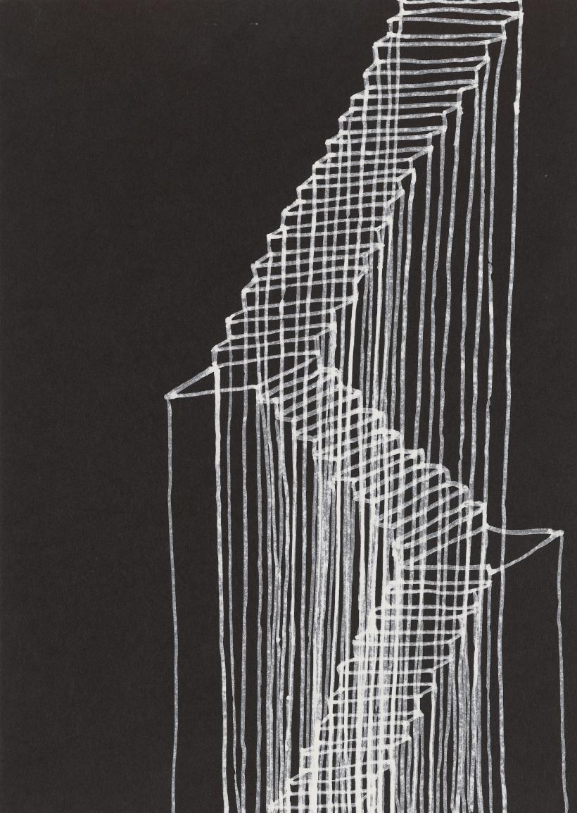 Stairs, 1995, Correction fluid on black paper, 662 x 513 x 38 mm