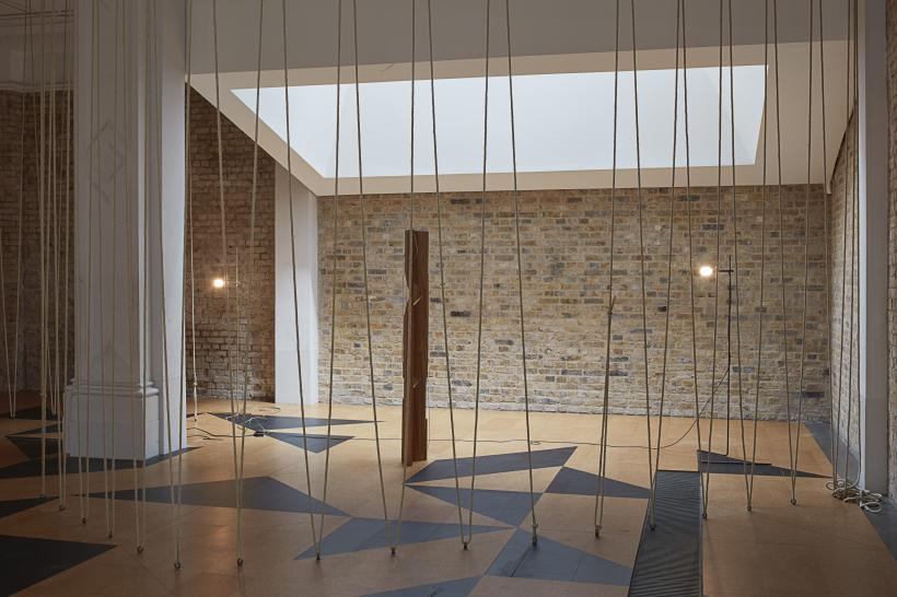 Installation view at the Whitechapel Gallery, Leonor Antunes: the frisson of the togetherness, Gallery 2