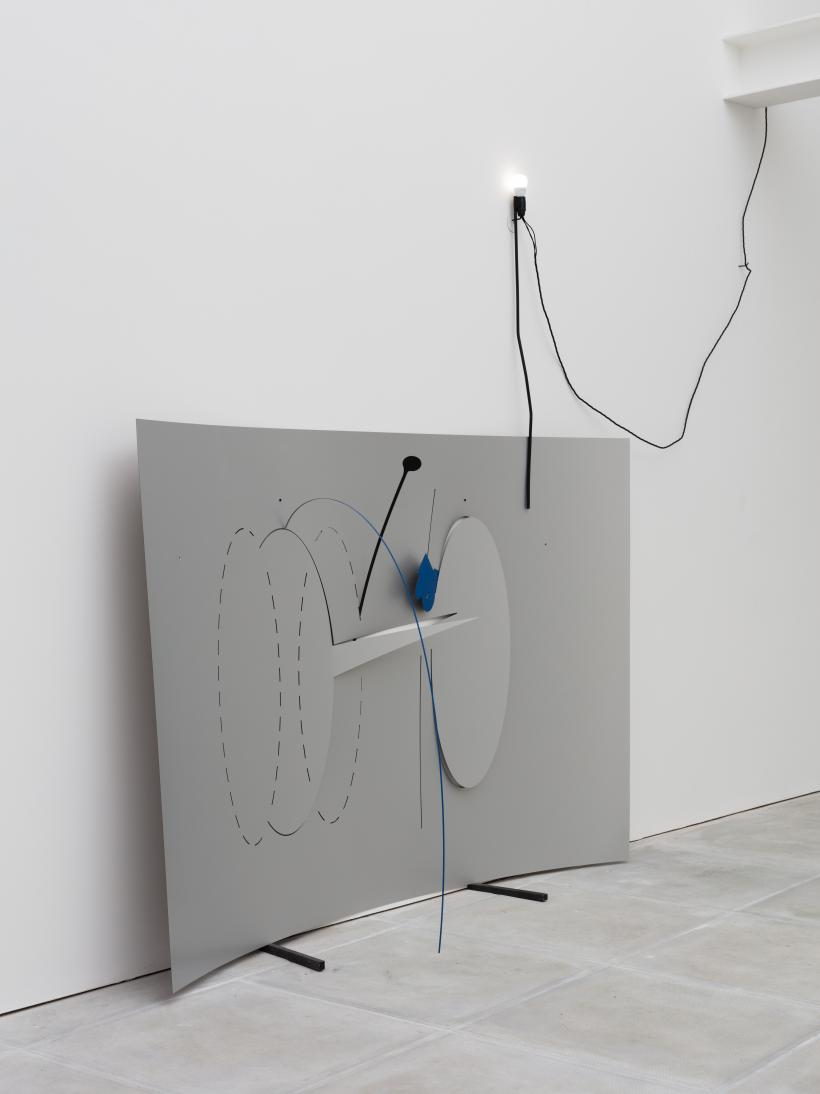Beatriz Olabarrieta, Now we are talking (brother), 2017. Laminate, spray paint, steel rod, light bulb, cable, tape, 185 x 122 x 14 cm