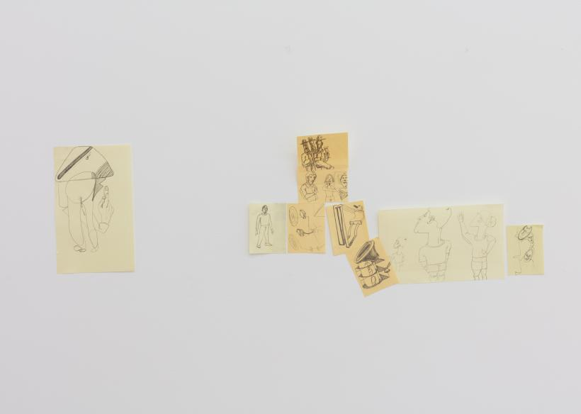 Beatriz Olabarrieta, Open relationship (almost failing red), 2017. Laminate, steel rod, light bulb, cable, cut out photocopy, post-it notes pencil drawings, 130 x 305 cm
