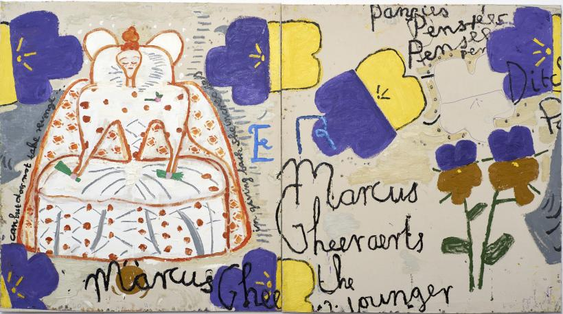 Rose Wylie, Queen with Pansies (Dots), 2016