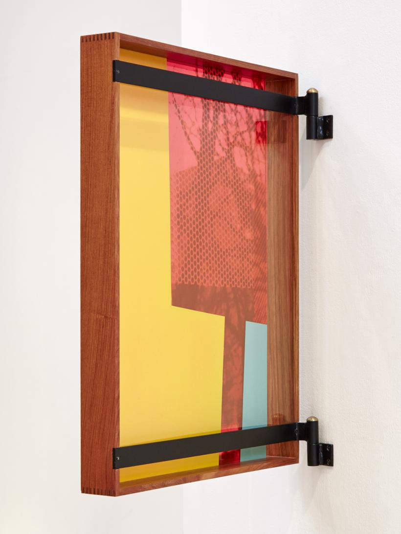 Céline Condorelli, Afterimage 3 (2016), screenprint on acrylic, 65 x 48cm. Installed within Céline Condorelli, How Things Appear (After Carlo Scarpa) (2016), jotoba wood, painted steel, brass, 66 x 48cm.