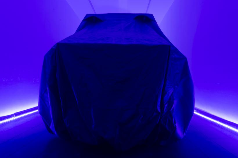 Jack Lavender, Untitled (car cover, stereo, lights, resin statue), 2018