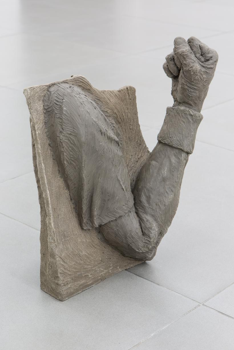 Fist Pump (Rafa, Muzza, the Joker), 2018, Beth Collar, Two kinds of wet clay, Dimensions variable