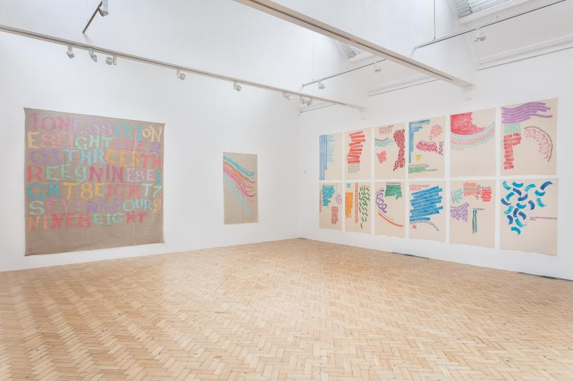 Installation view of Giorgio Griffa: A Continuous Becoming, Camden Arts Centre, 2018.