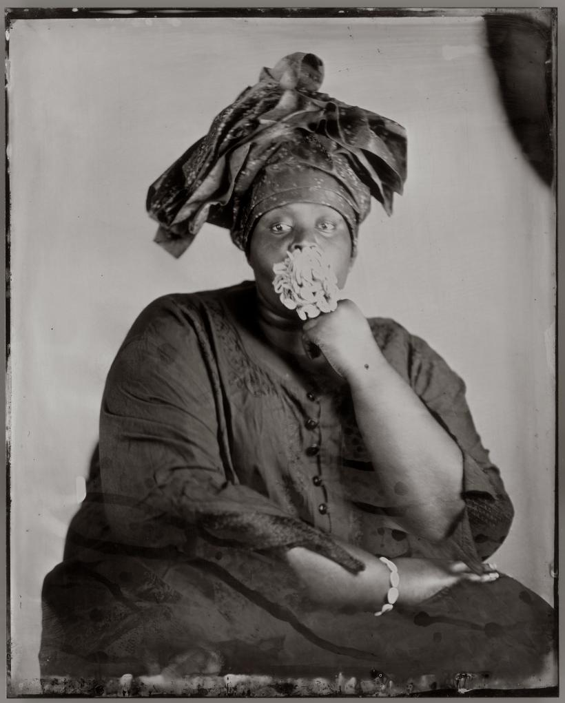 Khadija Saye, Peitaw, 2017 From the series: Dwelling: in this space we breathe. Photograph, wet plate collodion tintype on metal, 250 x 200 mm