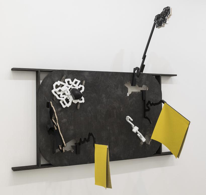 Thomas Bang, Sign (Flying Yellow Flags for Elena and Nicholae) 2018, Plywood, textiles, leather, gesso, acrylic paint, 165 x 204 x 94 cm