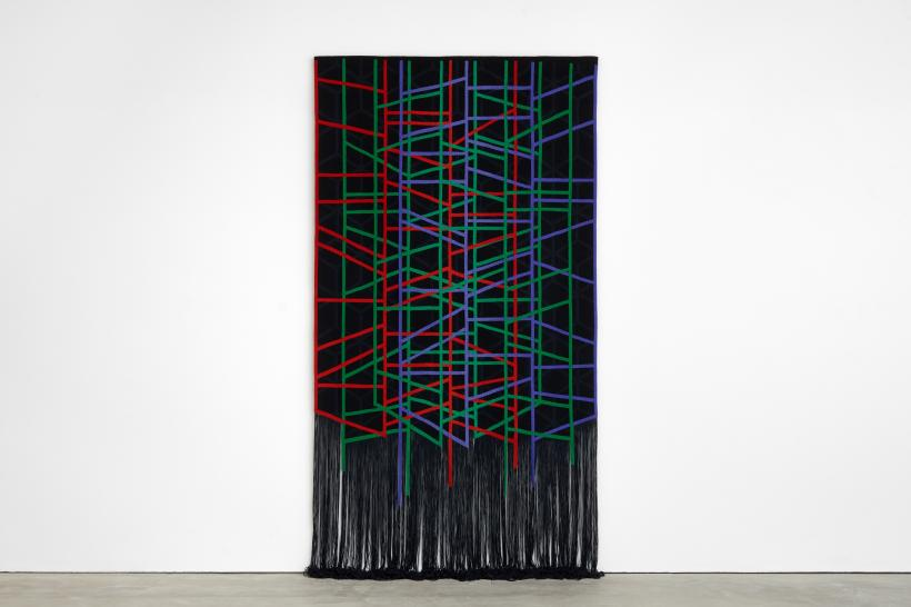 Eva Rothschild, The Fallowfield, 2018, tapestry weaving, 180 x 320 cm