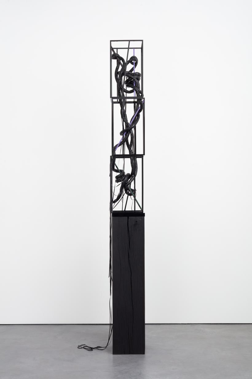 Eva Rothschild, The Way In, 2018, dyed oak plinth, leather, aluminium, fabric, tape, painted steel , 273 x 30.5 x 29 cm