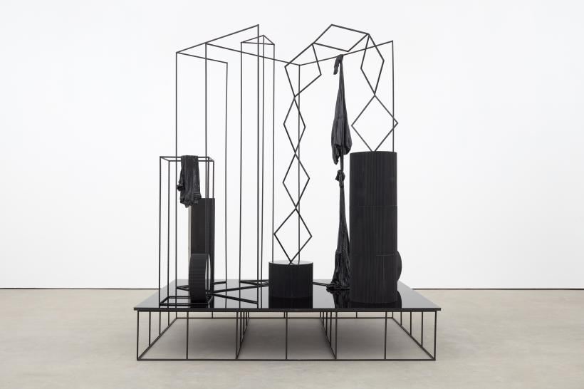 Eva Rothschild, Hangouts, 2018, Plexiglass, painted ribar, jesmonite, fabric, paint, MDF, steel, 294 x 240 x 180 cm