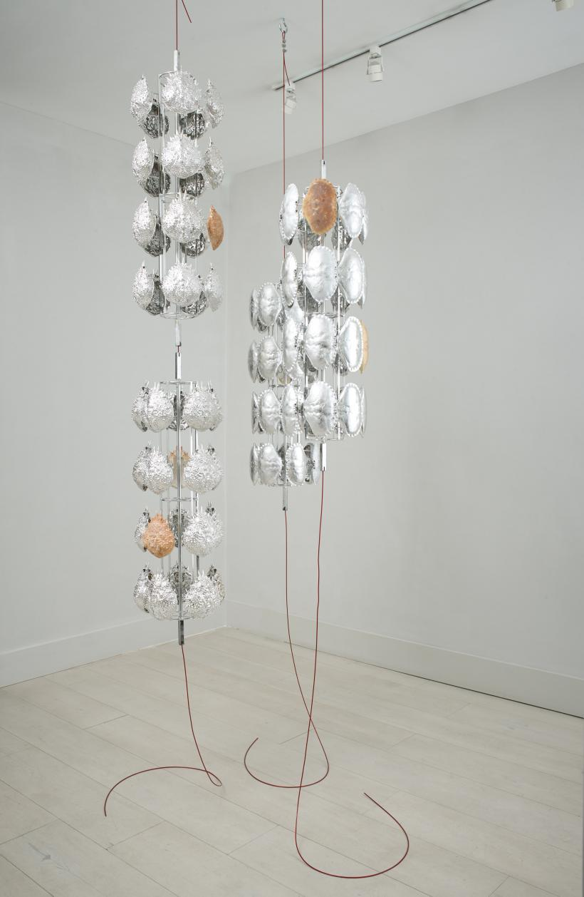 Crustacean Satellites, 2018. Vacuum Metallised Spider Crab (Maja Brachydactyla) and Brown Crab (Cancer Pagurus) Shells on Stainless Steel Jigs; PVC Coated Steel Cables; Fixings, 295.5 (h/variable) x 105 (w) x 110 (d) cm