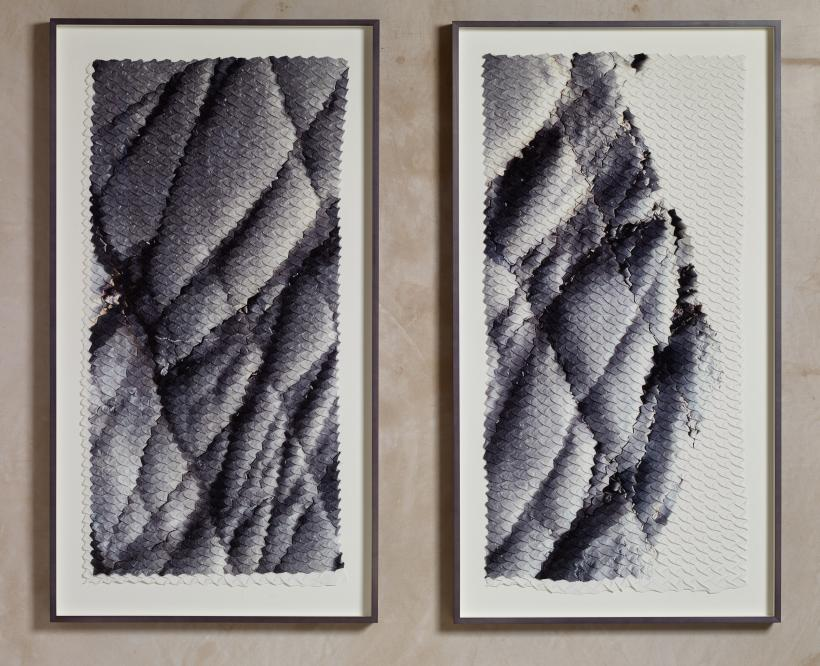 Soft Sediment Deformation, Lower Body (quilted gray), 2018. Diptych: Chevron Pleated Ink Jet Print on Heavy Crepe De Chine. Each panel: 132.7 (h) x 72.2 (w) x 5 (d) cm
