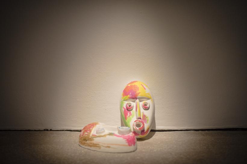 Ruth Barker, Mask (Yellow) Mask (Blue), 2018