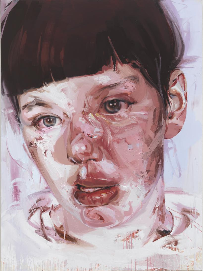 JENNY SAVILLE  Red Stare Head IV, 2006 - 2011  Oil on canvas, 252 x 187.5cm  Private collection, copyright Jenny Saville.  Courtesy of the artist and Gagosian