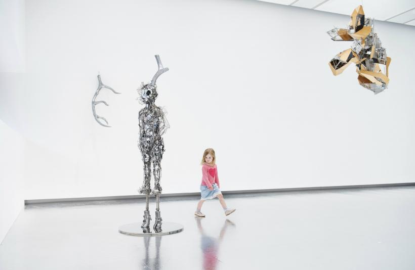 Installation view of Lee Bul Titan 2013 and Untitled sculpture (W3) 2010 at Hayward Gallery 2018 copyright Lee Bul 2018 Photo Linda Nylind