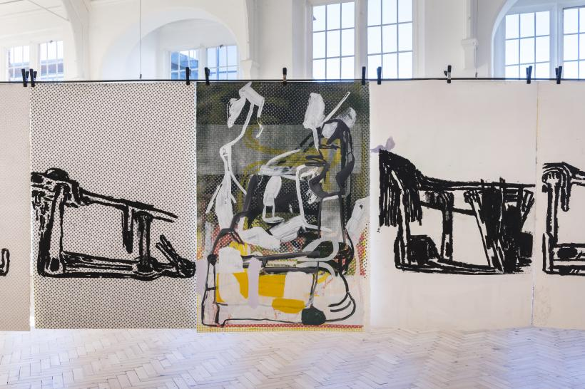 Amy Sillman, Dub Stamp, 2018, a multi-part series of double-sided acrylic, ink, and silkscreen works on paper, 152.5 × 101.5 cm each