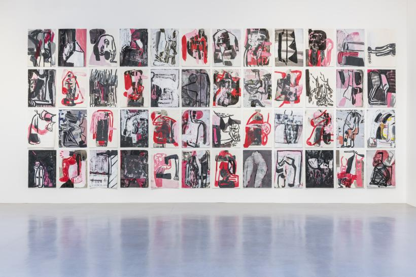 Amy Sillman, Pink Drawings, 2015-16, Acrylic, charcoal, and ink on paper, 76 x 57 cm each