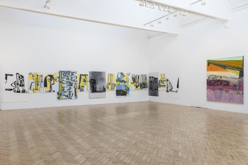 Amy Sillman, [Left] Rebus for Camden, 2017 – 18, Acrylic, ink, gouache and silkscreen works on paper, Dimensions variable; [Right] Lift & Separate, 2017-2018, Oil on canvas, 190.5 x 167.5 cm