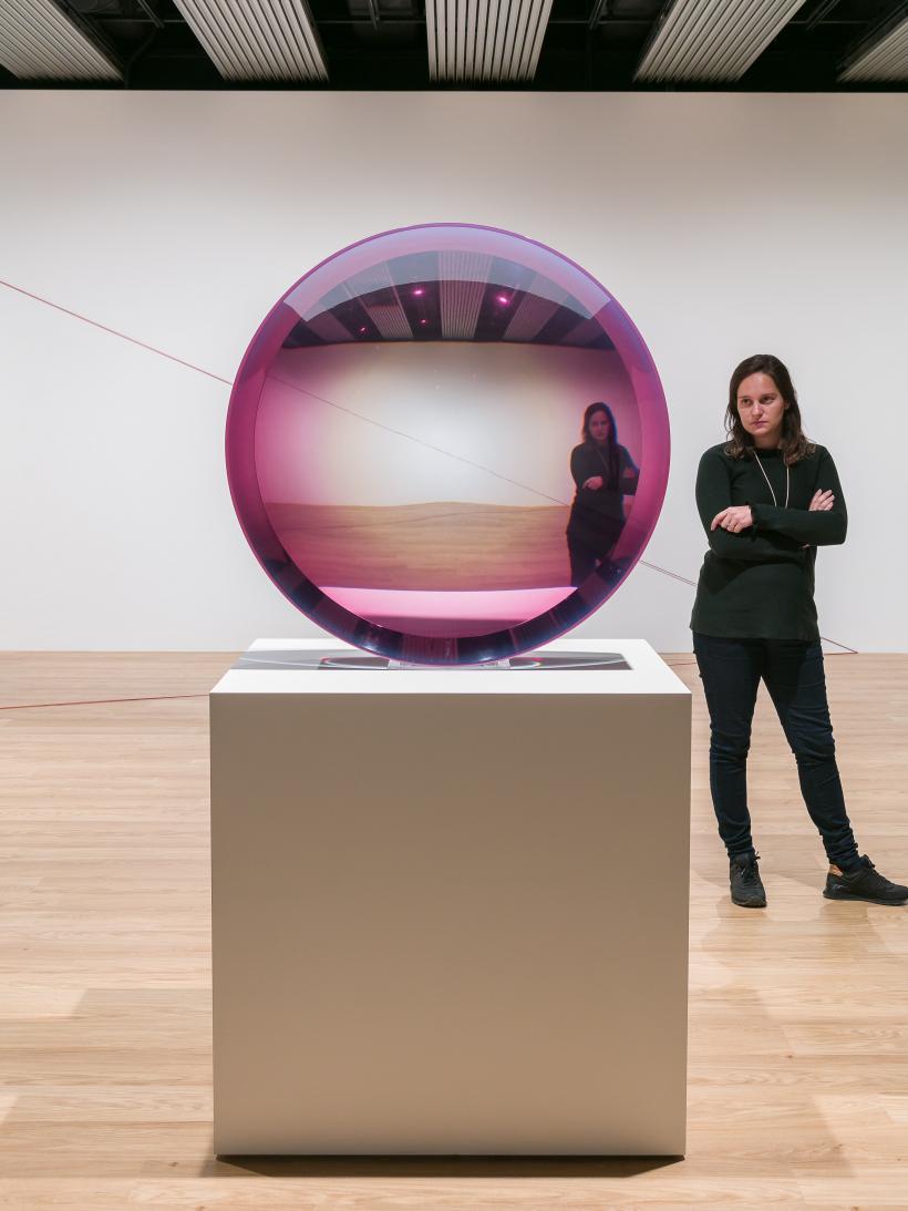 Installation view of Fred Eversley, Untitled (Parabolic Lens), 1971, at Space Shifters