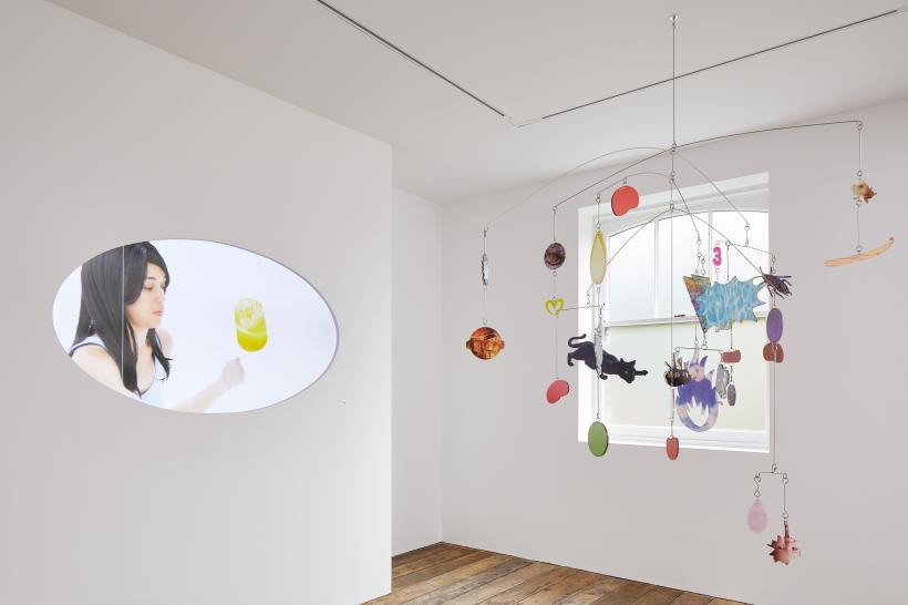 Installation view of KNOCK KNOCK at South London Gallery (22 September - 18 November 2018) Pictured: She (2017) and KEEP OUT OF REACH OF CHILDREN (2018) by Danielle Dean