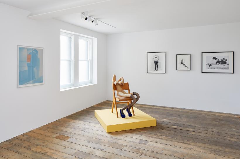 Installation view of KNOCK KNOCK at South London Gallery (22 September - 18 November 2018) Pictured: Campaign Volunteer (2018) by Rosemarie Trockel, Yves (2018) by Sarah Lucas and Biological Clock 2 (1995), Call Me (1987) and Seduction (1985) by Lynn