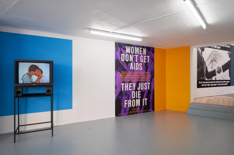 Installation view of Read My Lips, Gran Fury