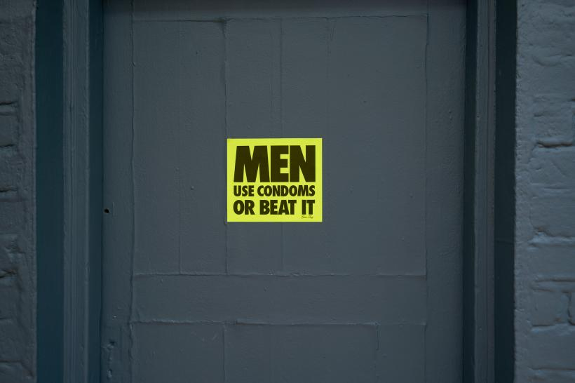 Men Use Condoms Or Beat It, Gran Fury, 1988, stickers