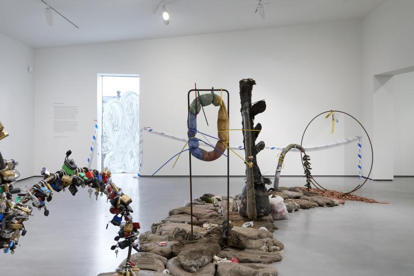 Installation shot of Michael Dean in The Hepworth Prize for Sculpture. 26 October 2018 - 20 January 2019.