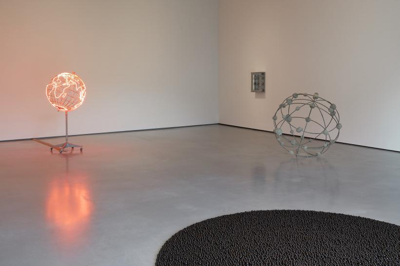 Installation shot of Mona Hatoum in The Hepworth Prize for Sculpture. 26 October 2018 - 20 January 2019.