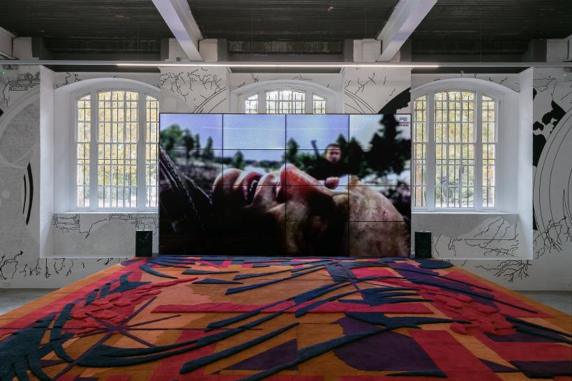 Metahaven, Eurasia (Questions on Happiness) 2018. Installation view of Metahaven: VERSION HISTORY at Institute of Contemporary Arts, London, 3 October - 13 January 2019