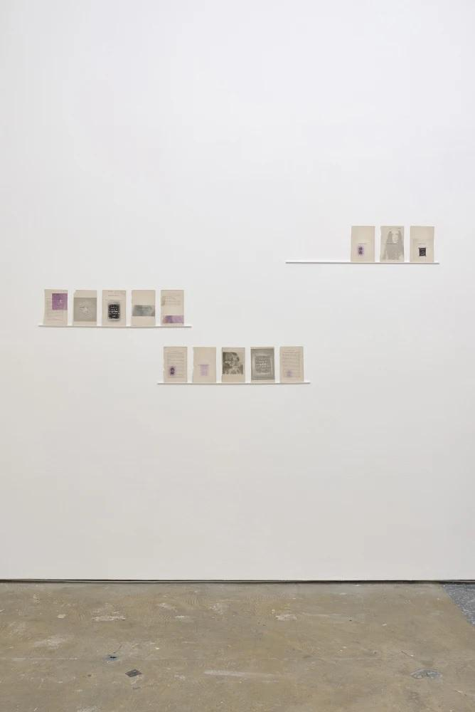 Emily Hesse, Duties, Temptations and Privileges, 2018, Printed found book pages (The printed images depict a collection of actions, performances and drawings made by Hesse between 2012 - 2018) each page: 12cm x 19cm (13 pages)