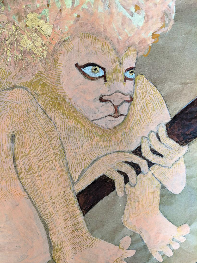 Jesse Darling, Lion in wait for Jerome and his medical kit, detail 2018, Paint pen on packing paper, gold leaf, parcel tape, 730 x 1100 mm