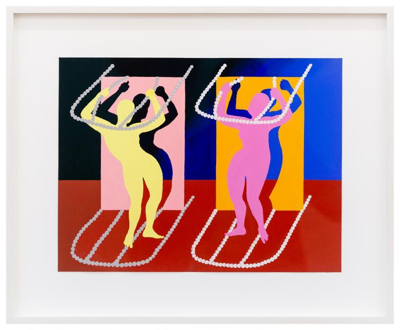 Sascha Braunig, Untitled (frames), 2018, Acrylic and acryla-gouache on paper, 30.8 x 41 cm
