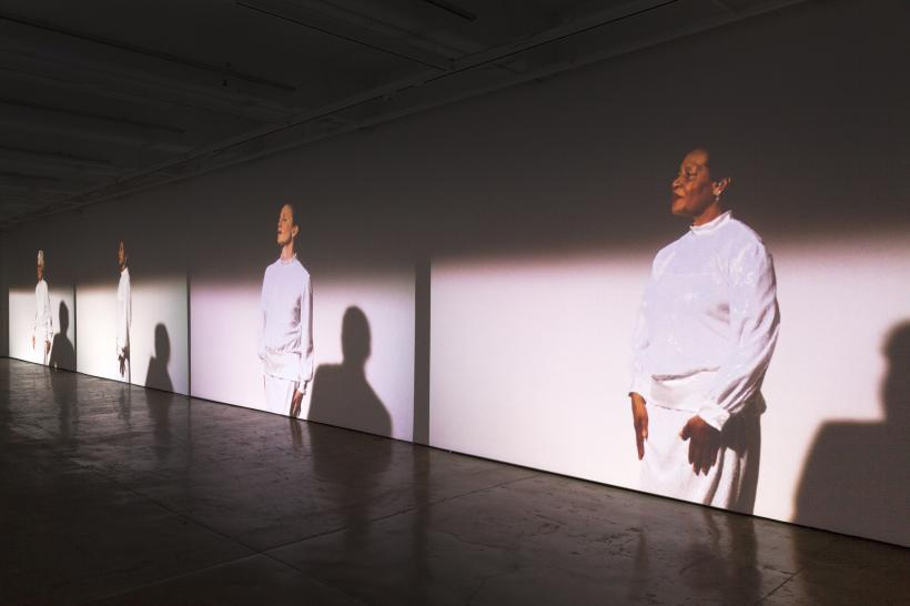 Suzanne Bocanegra, Valley, installation view (detail) at The Fabric Workshop and Museum. Performers from left to right: Joan Jonas, Tanya Selvaratnam, Wendy Whelan, and Carrie Mae Weems.