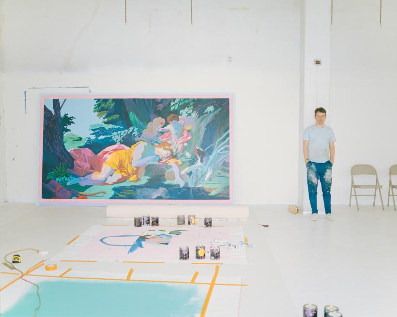 Andy Dixon in his Los Angeles studio with Narcissus Painting, 2018.