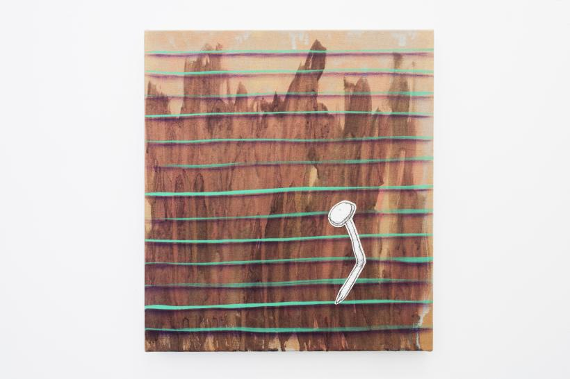 Alice Browne, FOUND, 2018 Acrylic, gouache, oil and mono-print collage on linen, 52 x 45cm