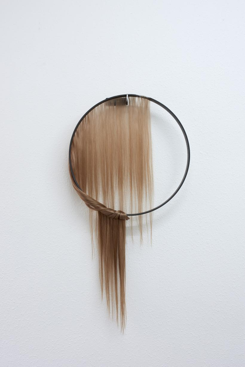 Louise Sparre, Circle of Control, 2019, iron and hair extensions