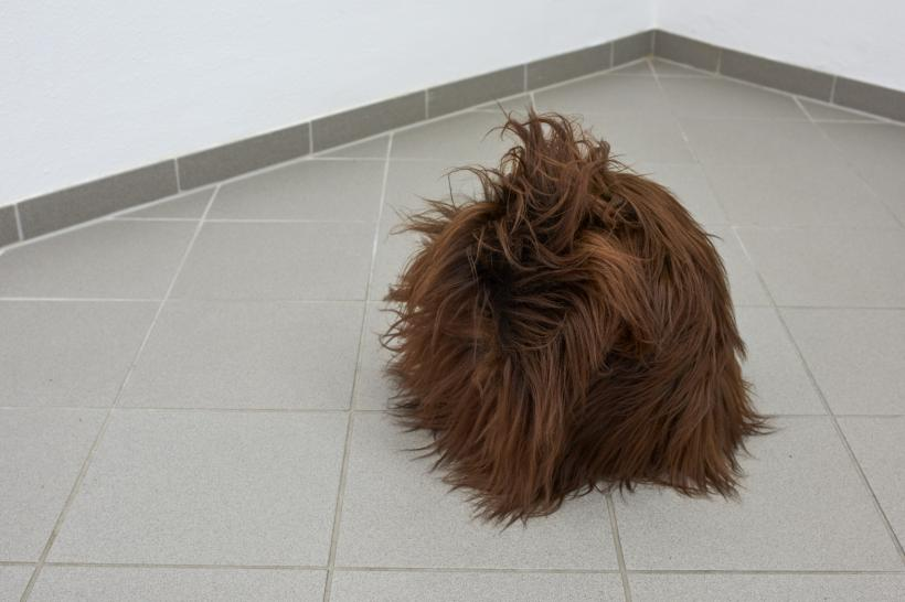 Louise Sparre, Hair Object 2, 2019, lambskin and polystyrene