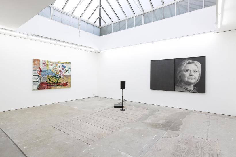 (l-r) Farley Aguilar, Bat Boy, 2018. Oil on canvas, 146.1 x 191.8 cm; Karl Haendel, Hillary Clinton, 2016. Pencil on paper, speaker, audio recording, 148 x 229.9 x 5.1 cm (diptych), Courtesy the artist and Susanne Vielmetter Los Angeles