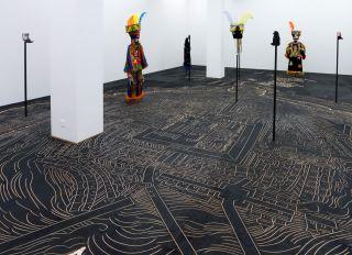 Mariana Castillo Deball, Nuremberg Map of Tenochtitlan, 2013. Installation view: Preis der Nationalgalerie fur Junge Kunst, Hamburger Bahnhof, Museum fur Gegenwart, Berlin, 2013.