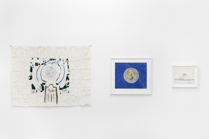 Britta Marakatt-Labba: (left to right) Global Warming (2007), textile and embroidery; Global Warming II (2008), textile and embroidery; Global Warming III (2008), plastic, textile, collage
