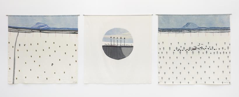 Britta Marakatt-Labba: The Forest Protects Life I, II, III (1987-88)(triptych), textile, embroidery