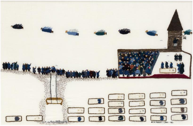 Britta Marakatt-Labba: Journey (1985), textile, embroidery