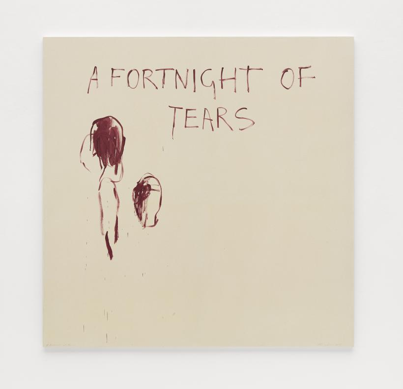Tracey Emin, A Fortnight of Tears, 2018, Acrylic on canvas, 182.5 x 182 cm